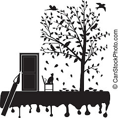 cat stare the birds on the tree - vector illustration of the...