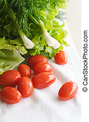 The closeup photo of the veggies for a salad