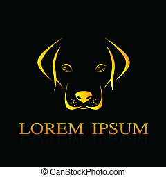 Vector image of an dog labrador on black background