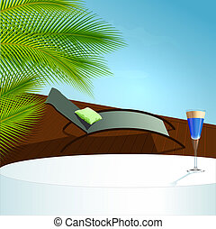 Summer relax concept ; pool and cocktail