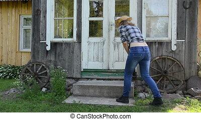 worker woman clean stair