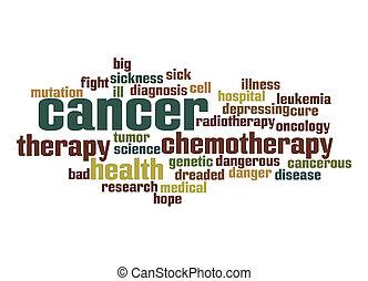 cáncer, palabra, nube