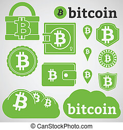 Bitcoin Currency Icons Set - Set of icons with letter B,...