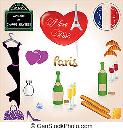 France Paris - Flag, wine with food