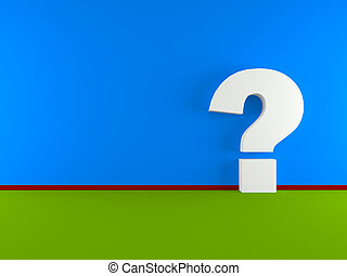 Question mark in a empty room - white question mark in empty...