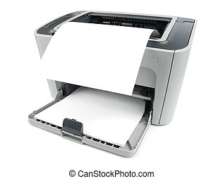 Printer With Paper - Printer with clean sheet isolated over...