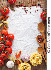 blank paper for recipes with ingredients tomatoes pasta...
