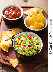 guacamole with avocado, lime, chili and tortilla chips,...