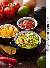 guacamole, aguacate, cal, chile, tortilla, pedacitos, salsa