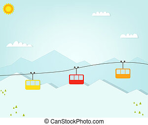 Group of cable car cabins in mountains