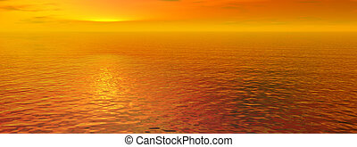 Red sunset sky and ocean wave water - panorama view