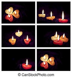 Coloured candle - Collage coloured candle shaped heart on...