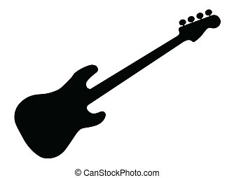 Bass Guitar Silhouette - Silhouette of a generic bass guitar...