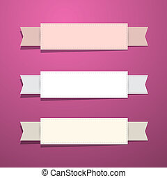 Paper Ribbons - Labels on Pink - Violet Background
