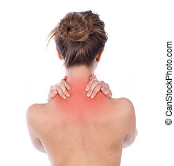 Nape and trapezius ache - Woman suffering from upper back,...