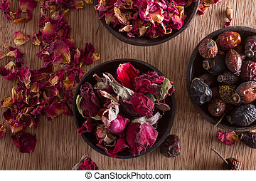 Dried rose hips, buds and petals: for tea, alternative...
