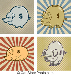 Piggy Banks - Here are four cartoon vector piggy banks one...