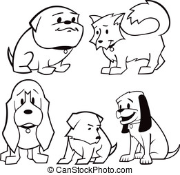 Puppies Black and White - Here are five vector cartoon...