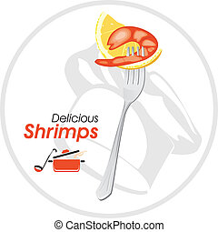 Delicious shrimp on a fork. Icon