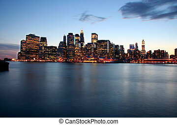 Skyline dusk - Image of New York City Skyline as viewed from...