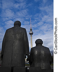 Marx, Engels and TV-Tower - a statue of Karl Marx and...