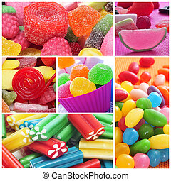 candies collage - a collage of different kinds of candies