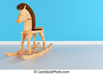 Rocking Horse - Wooden rocking horse with brown mane in a...