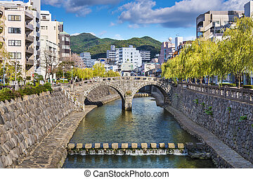 "Nagasaki, Japan at historic Megane ""Spectacles"" Bridge over..."