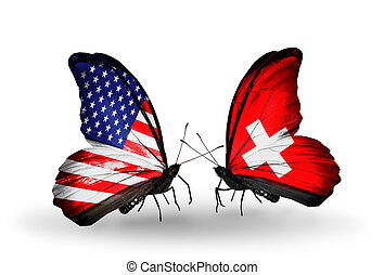 Two butterflies with flags on wings as symbol of relations USA and Switzerland