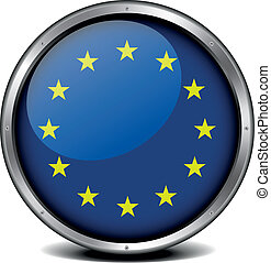 European Union Icon - illustration of a metal framed EU...