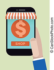 phone shopping - minimalistic illustration of hand holding a...