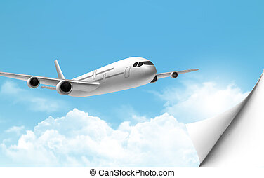 Travel background with an airplane and a bent corner Vector...