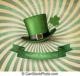 Saint Patrick's Day card with clove leaf and green hat....