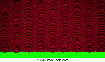Red Austrian curtain opens and fall - RED Curtain opens and...