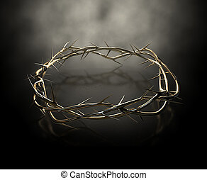 Crown Of Thorns Gold Casting - An upper view of a gold...