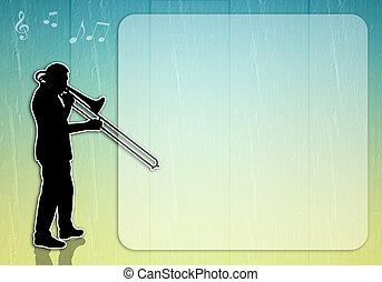 Man playing trombone - an illustration of Man playing...