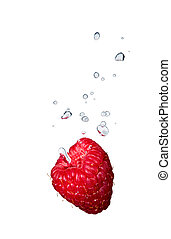 Raspberry in water with air bubbles