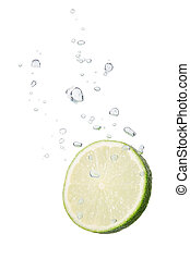 Lime in water with air bubbles