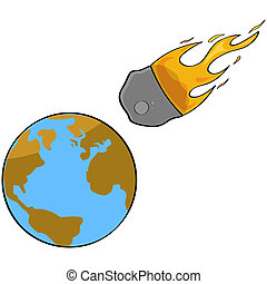 Asteroid collision - Cartoon illustration showing a speeding...