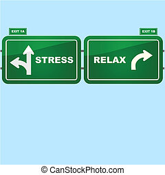 Stress and relax - Concept illustration showing highway road...