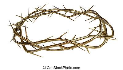 dourado, coroa, de, espinhos