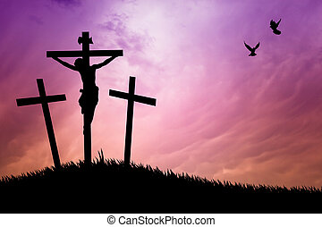 crucifixion at sunset - illustration of crucifixion at...