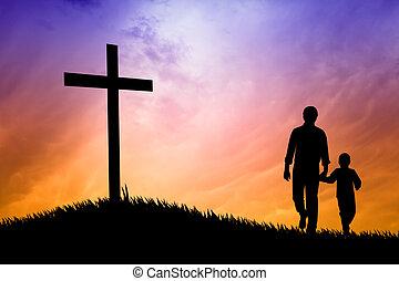 pai, filho, orando, sob, crucifixos