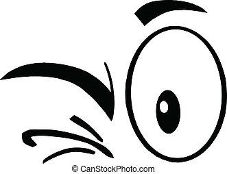 Black And White Winking Eyes - Black And White Winking...