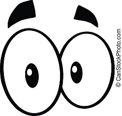 Black And White Mad Cartoon Eyes Illustration Isolated on...