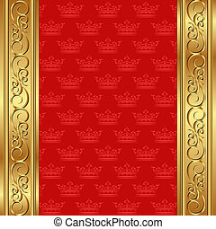 red background with crowns and golden ornaments