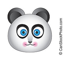 Panda with blue eyes on a white background with a cute snout