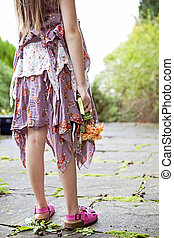 Warm cropped image of young girl. - Cropped image of a young...