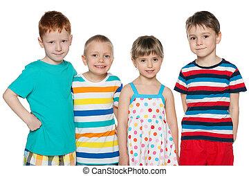 4, グループ, うれしい, 子供
