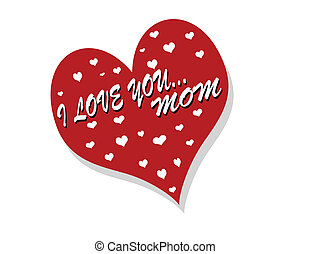 I love you mom - Stamp with text i love you mom inside,...